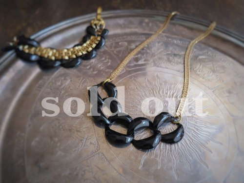 vintage necklace black steel chain <ncSTE1>