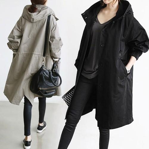 ノーカラージャケット レディース  アウター ロングコート オーバーサイズ 長袖 フード付き 袖口ゴム フェミニン シンプル