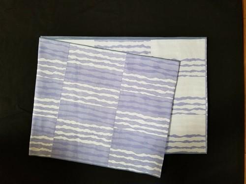 織兵児帯 市松によろけ縞 薄紫(リバーシブル)