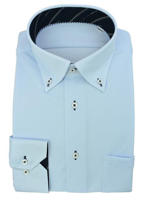 伸び~るストレッチシャツ100%ノーアイロン(ライトブルー)
