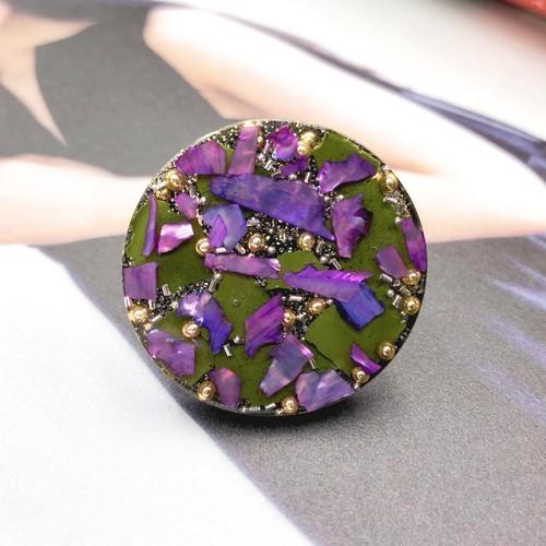 粒々Largeリング purple&khaki