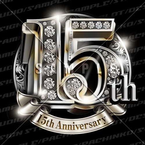 15周年PSD素材 エンブレム仕様。豪華でキラキラPhotoshop素材で周年を彩ろう!