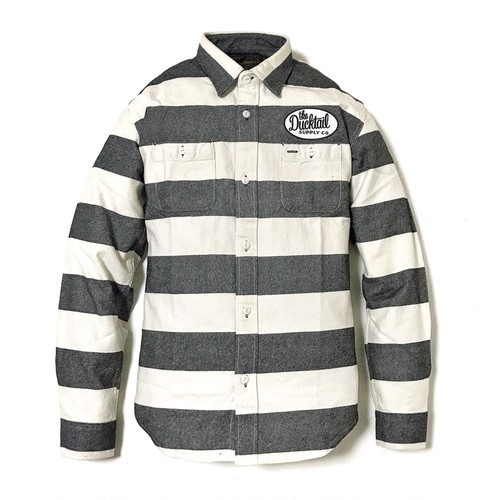 """DUCKTAIL CLOTHING LONG SLEEVE PRISON BORDER FLANNEL SHIRTS """"THE LOWER"""" WHITE ダックテイル クロージング ヘビー フランネルシャツ"""