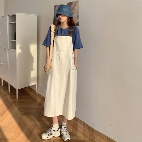 可愛い カレッジ風 オシャレ ラウンドネック 半袖 吊りスカート 着痩せ 2点セット セットアップ