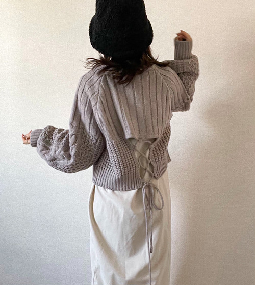 【greige】back open Knit