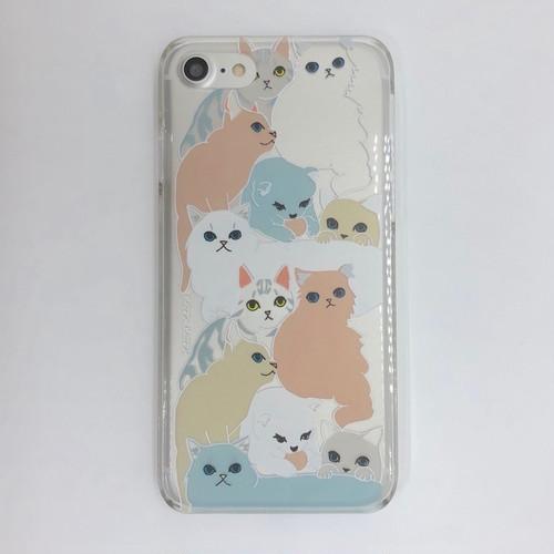 【iPhoneSE(第2世代) &iPhone8/7/6s/6 ケース】INDOOR CATS クリアカラフル(透明&半透明カラーケース)