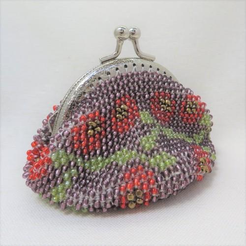 ビーズがま口(紫に赤い花)