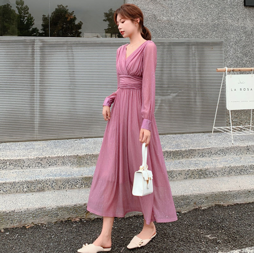 【dress】高級感 エレガントオシャレVネックチュニックデートワンピース M-0274
