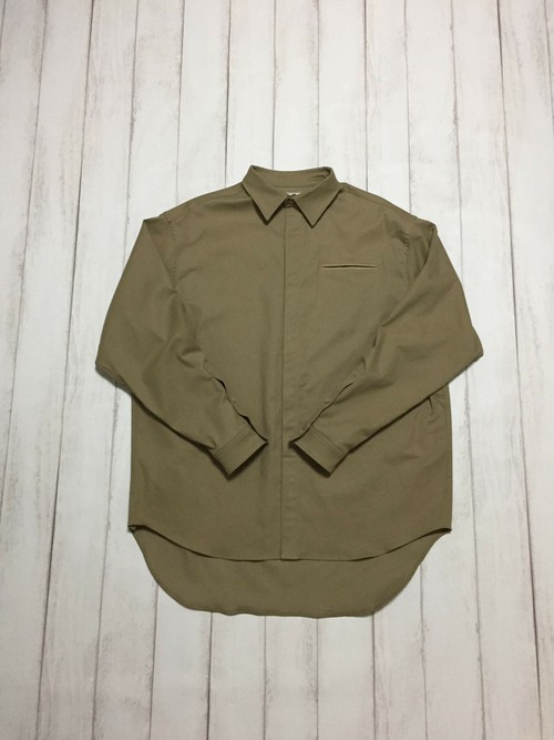 fly front shirt / beige