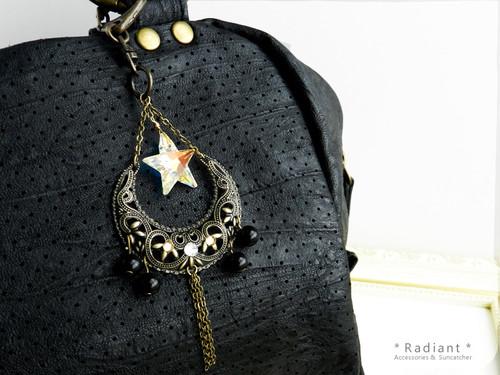 天然石と星型スワロフスキーの金古美バッグチャーム(全5色)