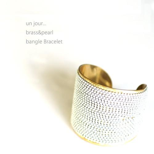 真鍮&ビーズ バングル ブレスレットゴールドB 58010025-01 un jour...(アンジュール)
