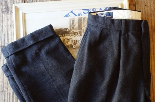 00's Ralph Lauren ash navy tweed wool Pants