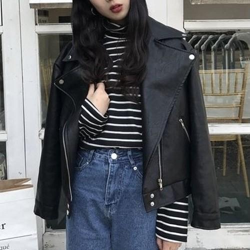 【アウター】ファッションストリート系ブラック折り襟ジャケット
