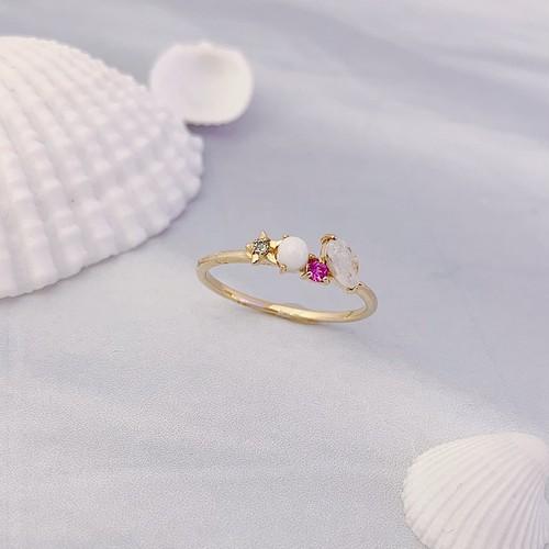 【kiyolakrei】キヨラクレイ キヨラフェ  リング 11号 白珊瑚 ピンクサファイア ブルートパーズ レインボームーンストーン f4s16rg (CORALIA)
