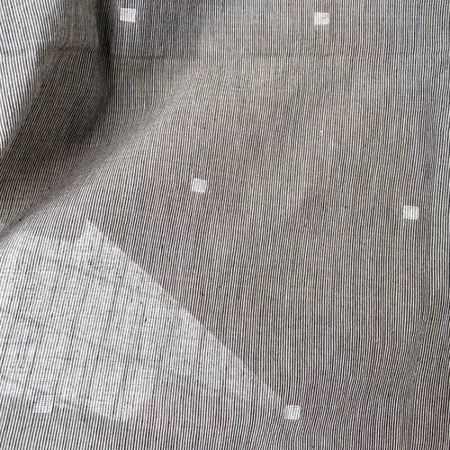 【NEW】Jamdani /グレーストライプ地に白い四角 ジャムダニ織