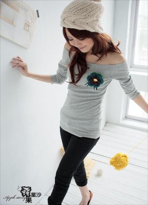 Tシャツ 即納 レディー スカットソー オフショルダー me-9006