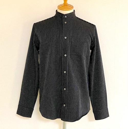 Stand Collar Stripe Shirts Black