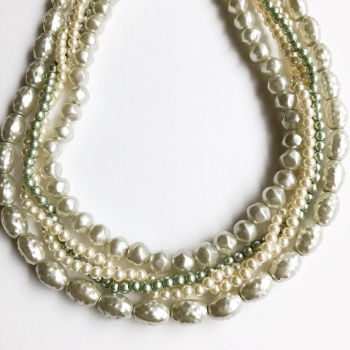 pale green & pearl five strand necklace[n-249]
