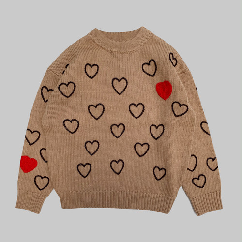 Heartfull Handembroydery Knit -BROWN-