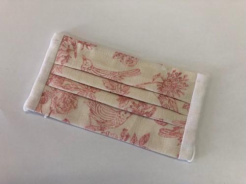 手作り麻マスク 小鳥と花