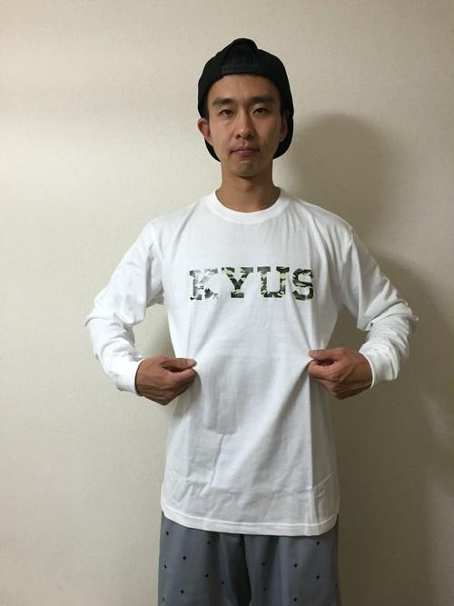 KYUS シンプルロゴ ロングスリーブTシャツ  ホワイト×迷彩  綿素材