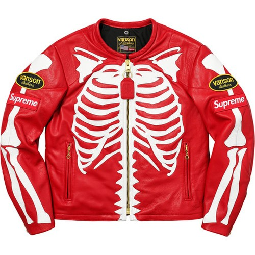 Supreme x Vanson Leather Bones Jacket Red