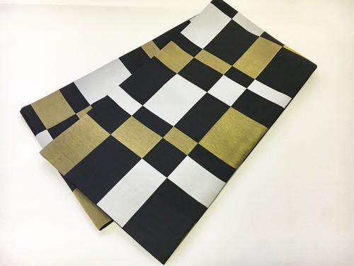 【即納品あり】西陣織袋帯 ブロックチェック