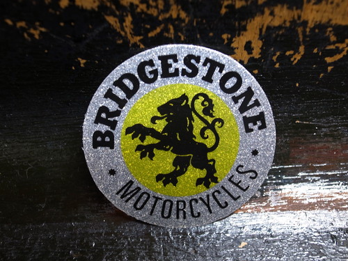 BRIDGESTONE MOTORCYCLES GLITTER Vintage Sticker(SILVER×YELLOW)