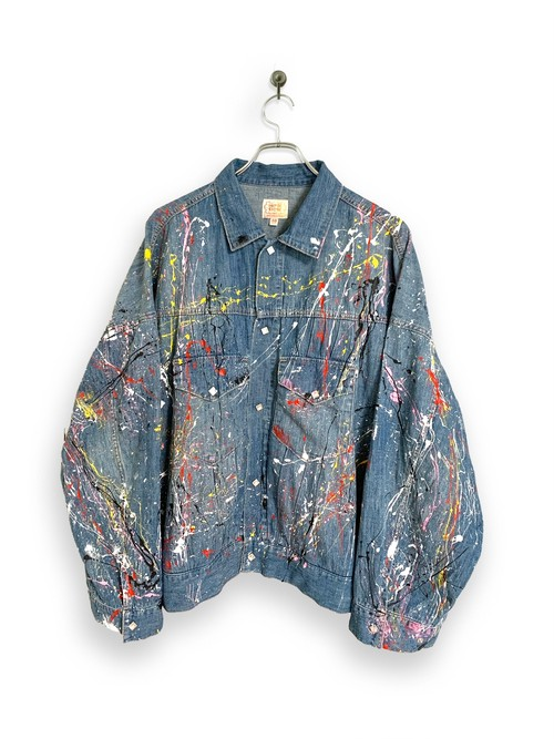 6.5oz Denim Western Short Jacket / splash  paint