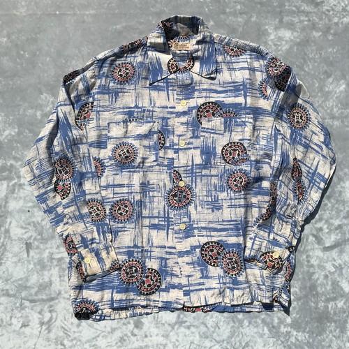 40's MYRON OF CALIFORNIA 長袖 レーヨンアロハシャツ 希少 シェルボタン ジオメトリック柄 オープンカラー ボックスシャツ Mサイズ