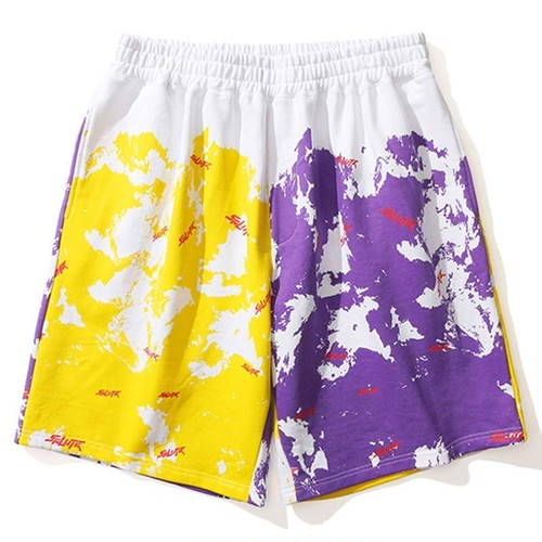 SALUTE 2 Colors Shorts YELLOW × PURPLE