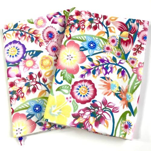 ブックカバー 花柄デザイン 沖縄の花たち ピンク