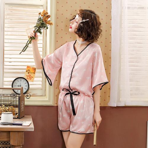 【パジャマ】プリントカジュアルTシャツ+ショートパンツ2点セットパジャマ21093055