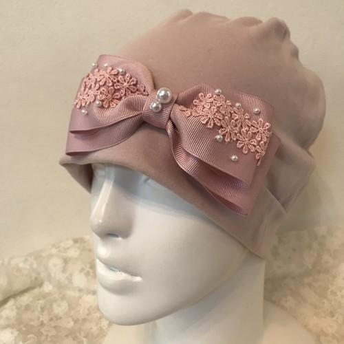 パールとお花レースのケア帽子 ピンク4