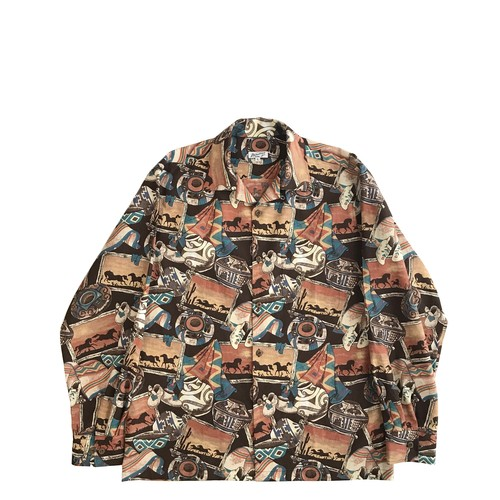Mountain 長袖オープンアロハシャツ / MEXICO size L