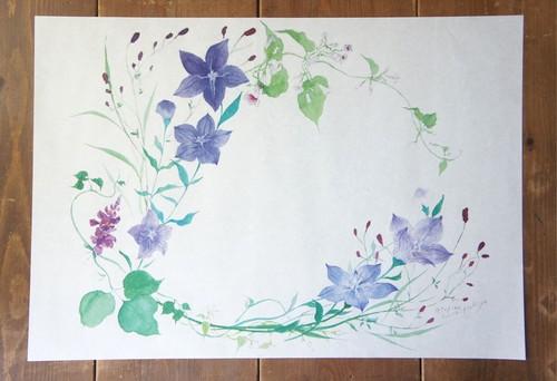 秋の花の包装紙