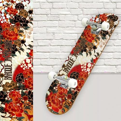 牡丹家紋装飾 紅白 スケートボード裏面保護シート