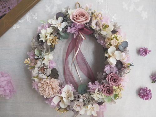Bonheur Couronne<antique Iris paris >*アンティークアイリスのボタニカルリース*プリザーブドフラワー お花*ギフト*母の日*母の日ギフト*母の日の贈りもの特集