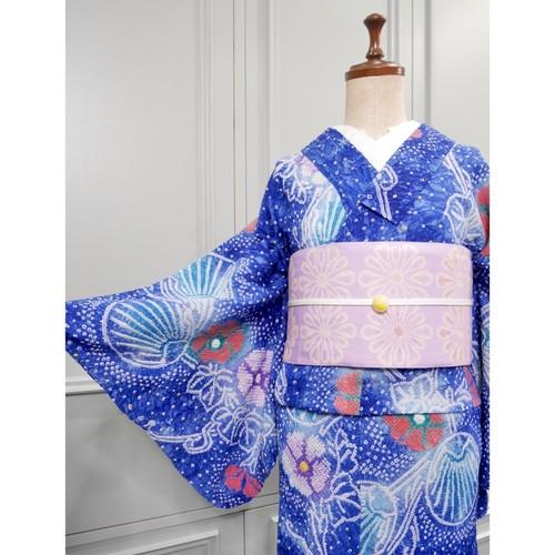 有松鳴海絞り浴衣*星空ブルー 団扇×朝顔 0304