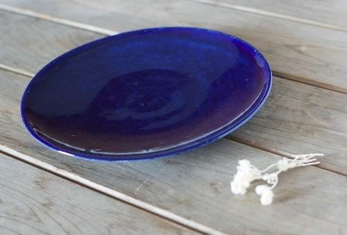 瑠璃色のお皿(8寸)