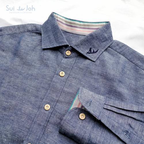 【メンズ・麻】長袖テーラーメイドシャツ(Mサイズ)