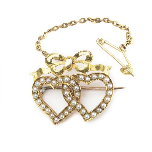 Victorian Seed Pearl Double Heart Brooch