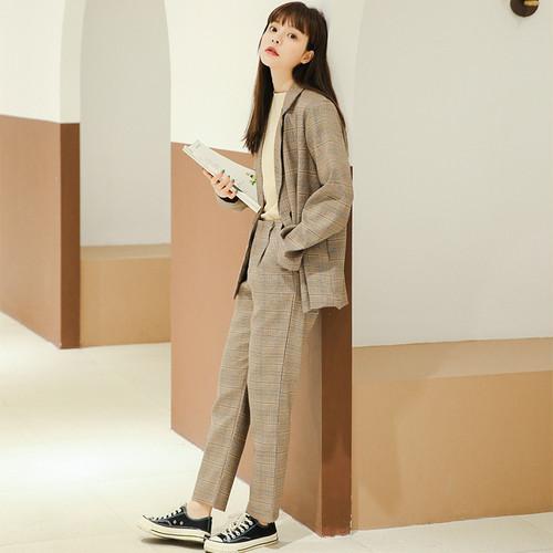 【セットアップ】ファッション合わせやすいチェック柄折り襟アウター/パンツ2点セット24230780