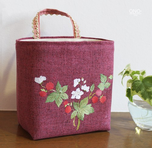prune et cerisier* コラージュ小物入れ スクエア<-濃ピンク・フランボワーズ->