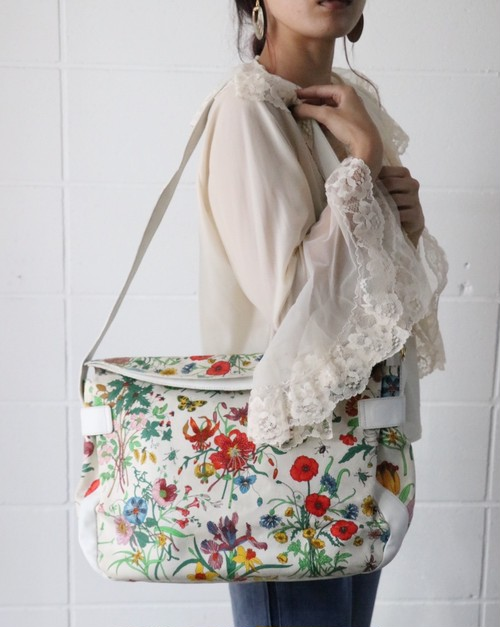 80's GUCCI flora shoulder bag