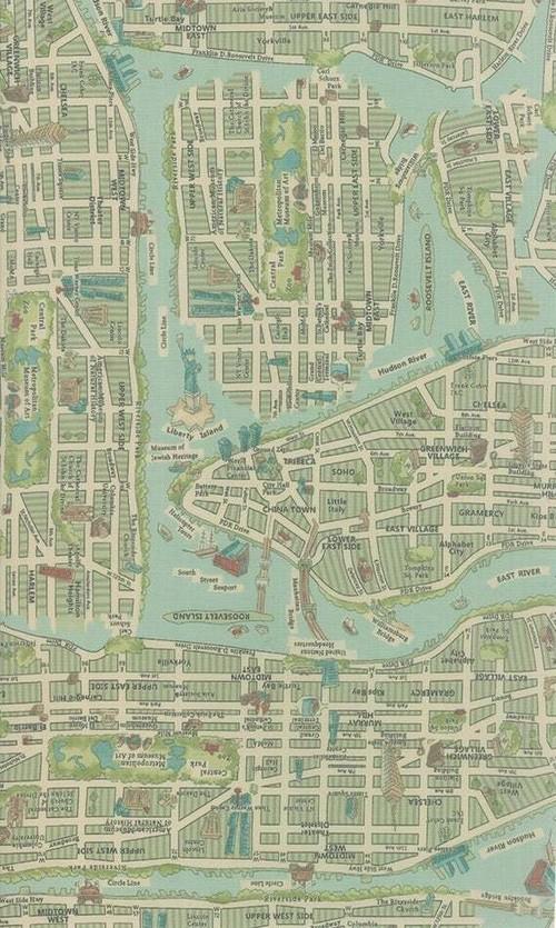 ラミネート生地 moda ニューヨーク 地図 map New York グリーン系 50センチ単位
