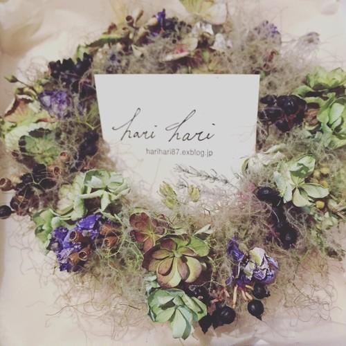 スモークツリーと実物と紫陽花の花冠リースa-12