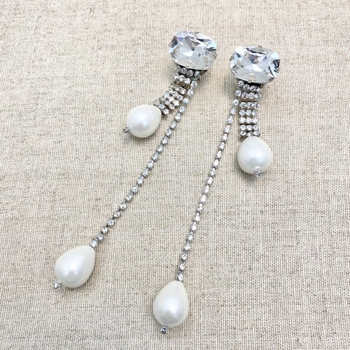 radà pearl×crystal ロングピアス