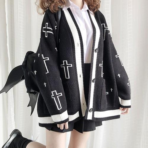 病みかわいい ニットカーディガン 十字架柄 ガーリー ゴシック オリジナルブランド 原宿系 10代 20代