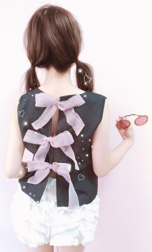 back ribbon ♡ トップス